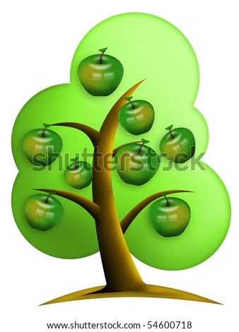 Green apples grows on tree. Clipping path included.
