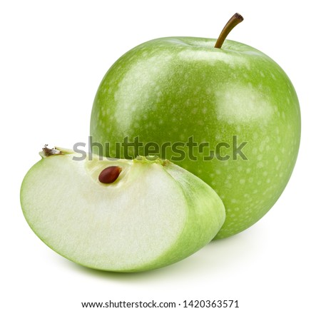 Green apples isolated on white background. Apples Clipping Path. Professional studio photo