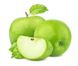 Green apples with leaves isolated on white background