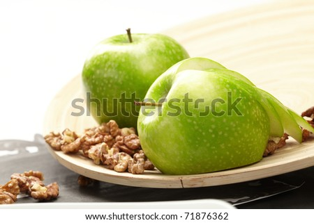 green apples with walnut