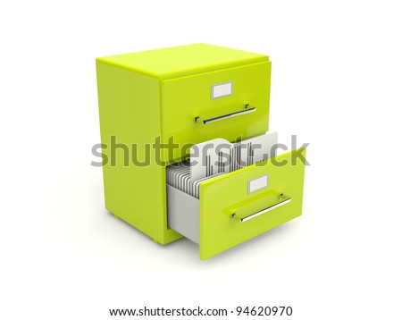 Green archive cabinet icon isolated on white