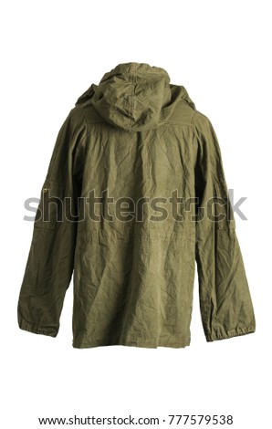 Green Army Smock Parka Jacket Back on White Background