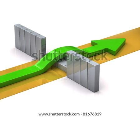 Green arrow breaks through a barrier - stock photo