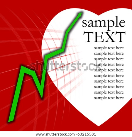 Green arrow graph on a red background and white heart