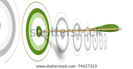 green arrow, hitting the center of green target with grey targets at the background