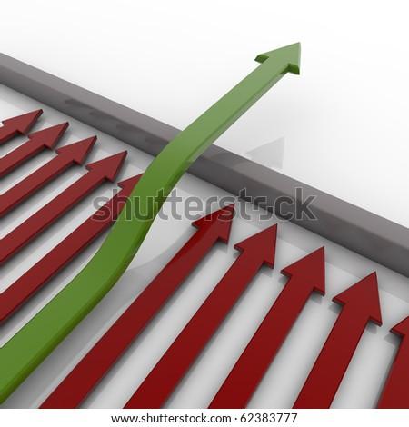 green arrow jumps above the barrier