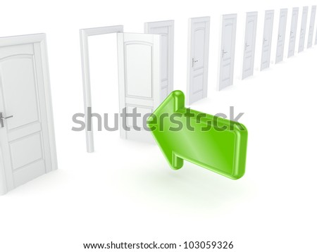 Green arrow pointing to the open door.Isolated on white background.3d rendered.