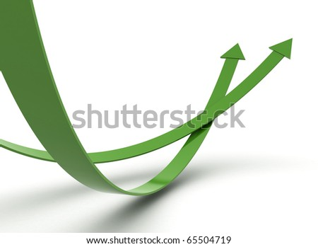 Green arrows illustration 3d render