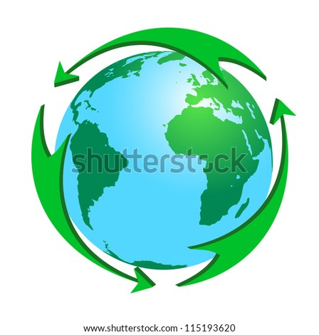 Green arrows round the earth. The concept - recycle, environmental protection.