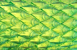 Green artificial dragon scales, diamond shape, temple complex. Thailand. Phuket
