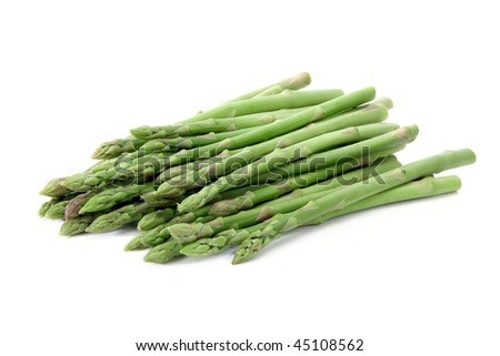 Green asparagus  isolated on white background.