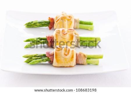 Green Asparagus tapas - stock photo