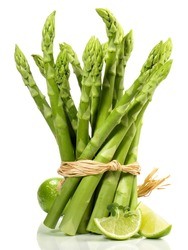 Green Asparagus with Lime  isolated on white Background