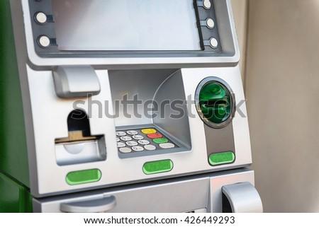 Green ATM machine