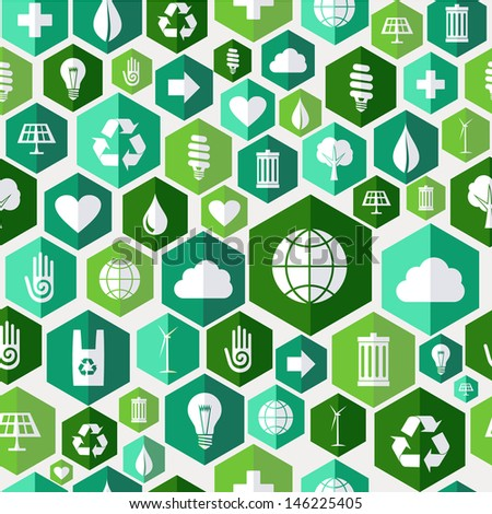 Green attitude environmental icons set seamless pattern over white background.