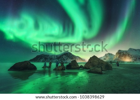 Stock Photo Green aurora borealis and photographers. Aurora. Northern lights in Lofoten islands, Norway. Starry sky with polar lights. Night landscape with aurora, sea, people, stones, sandy beach and mountains.