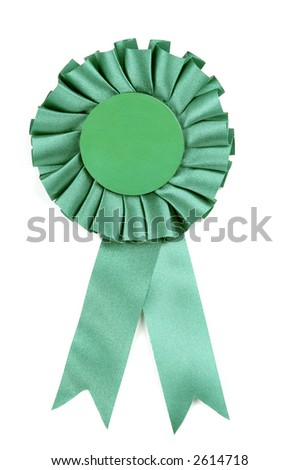 Green award type ribbon isolated on a white background.