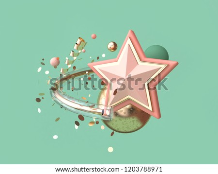 green background abstract pink star many object decoration floating christmas concept 3d rendering