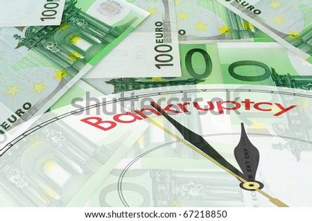 Green background of euro bills with clock face - bankruptcy concept