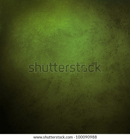 green background or grunge texture in olive green color, with black vintage grunge frame, has old faded solid background in center spotlight for text or copy space