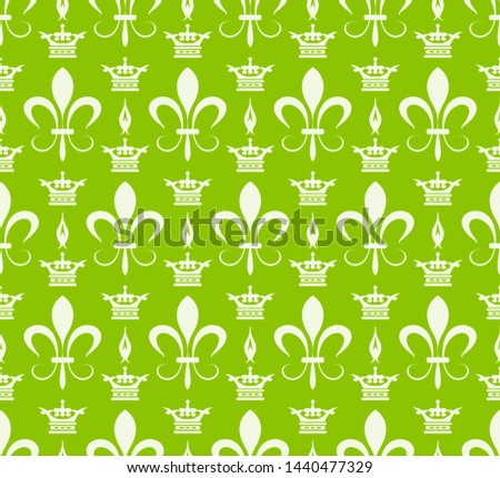 Green background pattern. Retro pattern in royal style. Ornament illustration. Wallpaper background. Abstract seamless texture. Template for fabric design