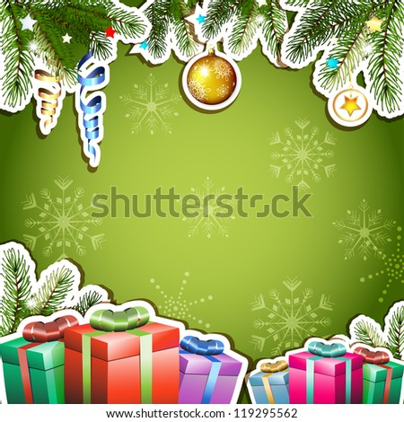 Green background with Christmas gifts and ball