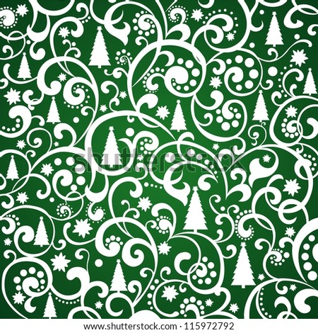 Green background with Christmas tree.  illustration