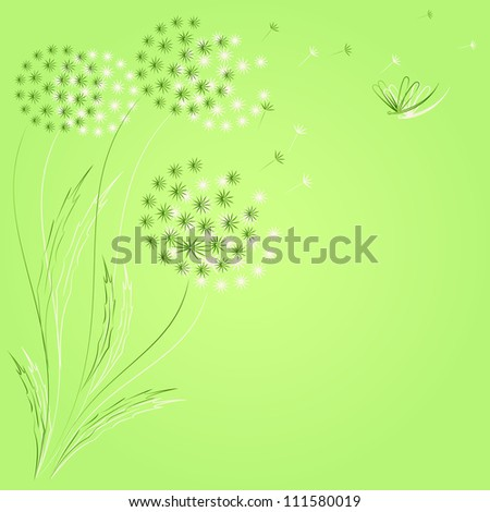 Green background with dandelions.