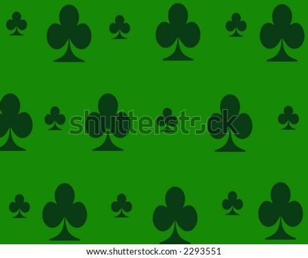 green background with dark green clovers in a pattern.
