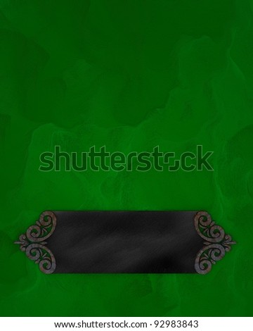 Green background with dark texture stripe layout - stock photo