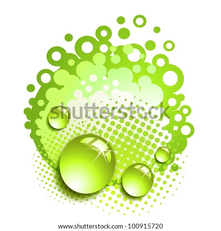 Green background with drops and bubbles