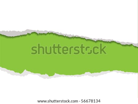Green background with white torn paper edge and shadow