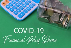 Green background written with text COVID-19 FINANCIAL RELIEF SCHEME