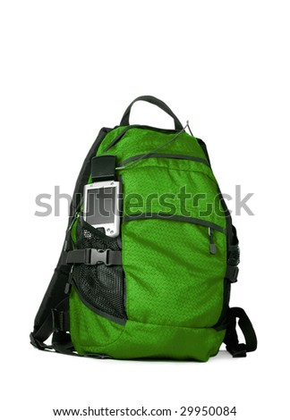 Green backpocket with pocket pc GPS isolated over white background