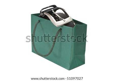 Green bag with black belt isolated on a white background.