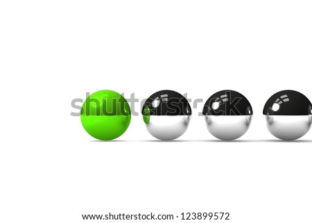 Green ball leading the others