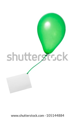 green balloon with ribbon and greeting card