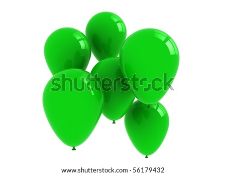 Green balloons isolated on white