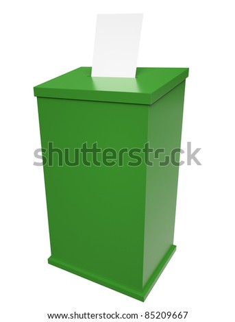 Green ballot box isolated on white background. 3D render.