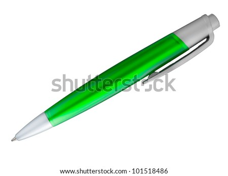 green ballpoint pen on a isolated white background
