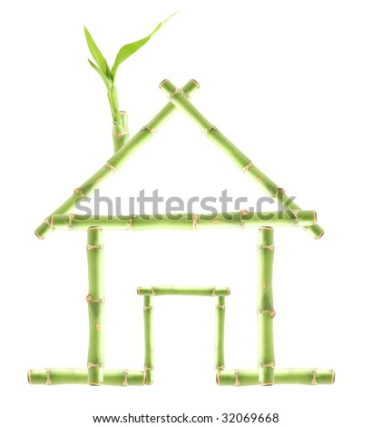 Green bamboo house isolated on white: suitable for renewable, clean energy, construction, healthy living themes, recycling