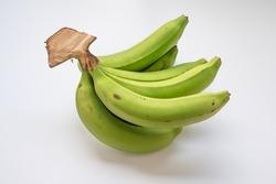 green banana bundle isolated on white background