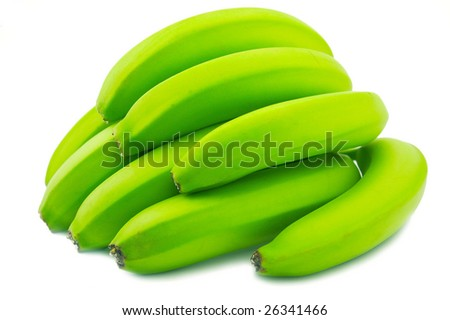 Green banana on a white background