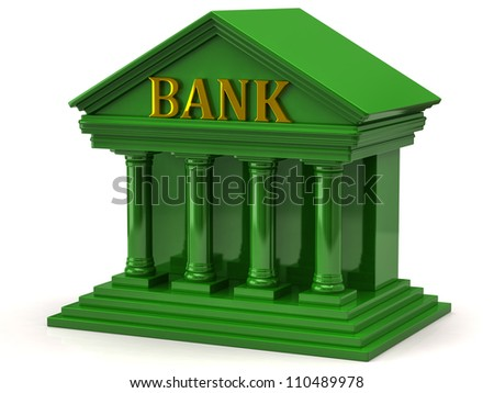 Green bank on white background