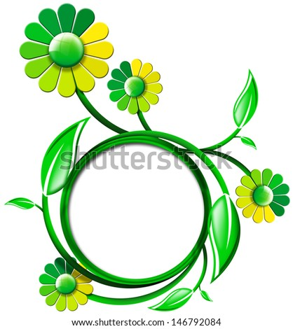 Green Banner with Leaves and Flowers / Green circle icon with fresh leaves and flowers on white background