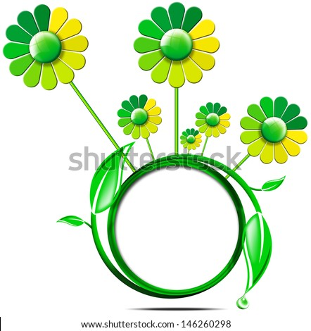 Green Banner with Leaves and Flowers / Green circle icon with fresh leaves, flowers and drop isolated on white background
