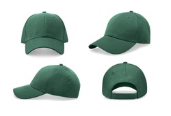 Green baseball cap in four different angles views. Mock up.