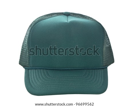 Green baseball hat isolated on white