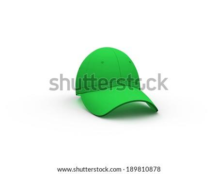 Green Baseball Hat Isolated on White Background.