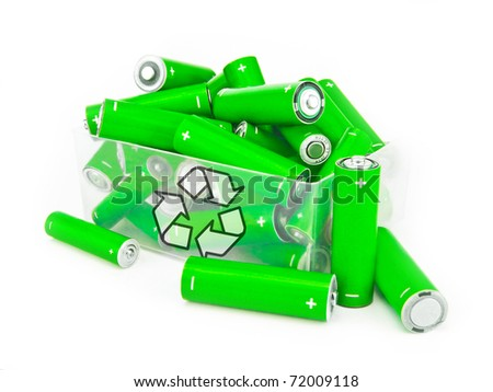 Green batteries with recycling symbol in box on white